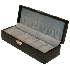 6 Watch Box Black Leather with Pocket