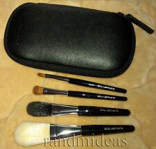 Shu Uemura Portable Brush Set-Basic Four Synthetic Fiber Brushes With Case-NEW~*