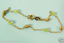 "GOLD PLATE OVER STERLING SILVER 925 PERIDOT LINK CHAIN BRACELET 8.75"" ITALY"