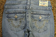 TRUE RELIGION Straight Jeans 24X33 NWOT$294 Distressed! USA! Studded TR Pockets!