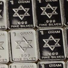 Lot 30 X 1 Gram  .999  Fine Silver Bar Bullion  / Star of David    L5WPT400 oz