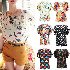 Fashion Women Blouse Chiffon Top Casual Floral Loose Korean Summer T-shirt Shirt