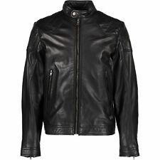 Diesel Men's Black Leather Biker Jacket Size Small
