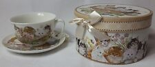 Cat Design 9 oz Cup and Saucer Set Comes in A Decorative Gift Box