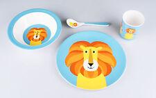 Kindergeschirr Frühstücks-Set mit freundlichem Löwen, Melamin, 4-teilig