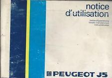 PEUGEOT J5 Betriebsanleitung 1985 Notice D´Utilisation  Instructieboekje BA