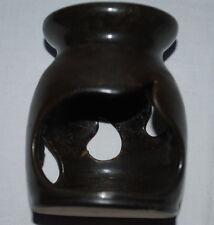 Windlicht Teelichthalter Keramik braun 10,5 cm hoch Tropfenausschnitte