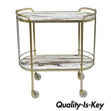 Vtg Mid Century Modern Brass Rolling Bar Tea Cart Table Laminate Faux Marble Top