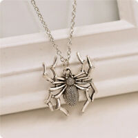 Temperament Spider Halloween Pendants Chain Unisex Silver Necklace Jewelry Gifts