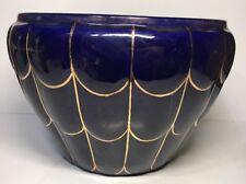 Très Grand Cache Pot En Céramique Bleu Four Et Or H 20 D 30 Ouverture 25,5 Cm