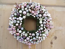 Türkranz Weihnachten 31 cm (B) hochwertige Dekoteile rosa creme Handarbeit