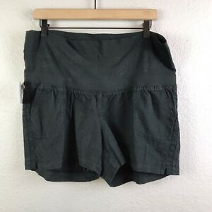 "Isabel Maternity Women's M XL Pull-On Twill Shorts Linen Blend Black 4"" Inseam"