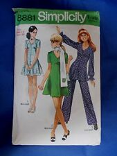 "Vintage sewing pattern 1970s Tunic Mini Dress Trousers 34"" bust SIMPLICITY 8881"