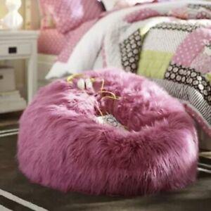 "Pottery Barn Teen Himalayan Hot Pink Faux Fur Shaggy Bean Bag Slip Cover 41"""