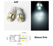 2 x Bombillas 5 led SMD 5050 T10 w5w Blanco Frio CAMION 24v