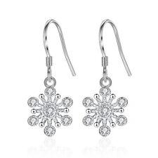 925 Sterling Silver Zirconia Snowflake Drop Hook Earrings for Women Jewelry Gift