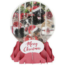 3D Pop Up Snow Globe Greetings Christmas Card - CHRISTMAS PUPPIES -UP-WP-SGM-036