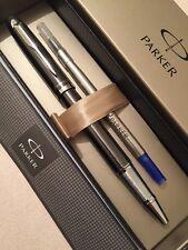 NEW PARKER IM GREY CHROME TRIM ROLLERBALL PEN-FRANCE-BLUE INK-GIFT BOX