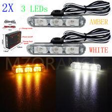 Amber White 2X 3 LED Control Car Truck Emergency Warning Strobe Flash Lights Bar