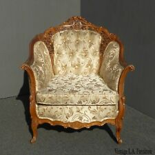 Vintage French Provincial Rococo Tufted Accent Chair Ornately Carved Wood
