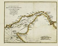 MAP ANTIQUE 1776 FISHER DELAWARE BAY RIVER PHILADELPHIA REPLICA PRINT PAM1650