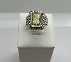 Andrea Candela Green Amethyst Ring, Sterling Silver And 18k With 8 Diamonds