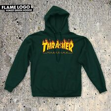 Thrasher Magazine FLAMES Pullover Skateboard Hoodie FOREST GREEN XL