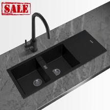 Double Bowls Drainboard Black Granite Quartz Stone Kitchen Sink Top and Under...