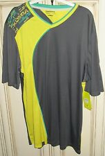 Men's XL DIADORA KOBRA Athletic Shirt DIAdry Moisture Wicking Grey Yellow Green