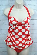 RALPH LAUREN Tankini Swimsuit Halter Top & Briefs Bottom Set Size 10 Red White