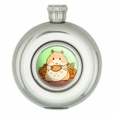 Hamster Eating Stash of Food Round Stainless Steel 5oz Hip Drink Flask