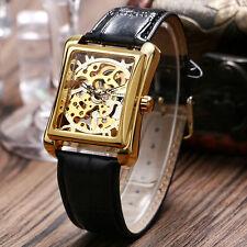 WINNER Skeleton Mechanical Square Shape Leather Band Unisex Sport Wrist Watch