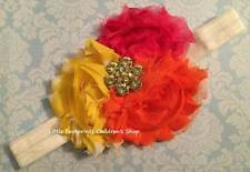 Hot Pink Orange Yellow Polka Dot Jeweled Triple Shabby Flower Headband