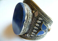 Belly Dance Blue Lapis Lazuli Large Tribal Cuff Oval Bracelet - Reduced