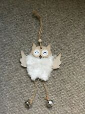 Rustic Christmas Hanging Fluffy Owl Decoration