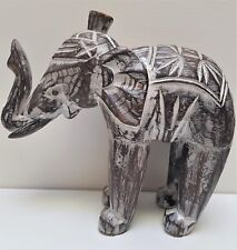Wood elephant statue ornament hand carved lucky Bali Balinese brown wash 20cm