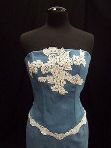 Blue Denim / White Lace Two Piece Corset/Train Skirt Western Wedding, Size 4-16