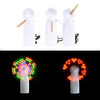 Fashion LED Love Pattern Handheld Mini Fan Summer Super Mute Cooling Fan Y WR