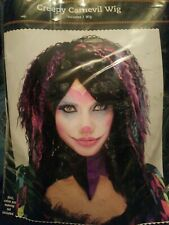 New Creepy Carnevil Ladies Clown Wig, Pink, Blue, Purple, Blk, Med Short, Scary