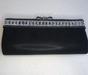Glam Vintage Satin Black Convertible Clutch evening bag with Rhinestones