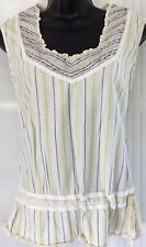FAT FACE 8 vgc neutral cream stripe sleeveless longline embroidered tunic top