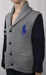 Child POLO Ralph Lauren Grey Blue Big Pony Cardigan Shawl Collar Sweater NWT $80