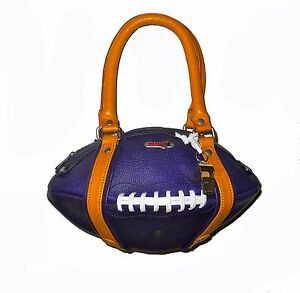 NEW Red24 Purple/Gold Leather FOOTBALL PURSE Hand Bag+Whistle Vikings Ravens NFL