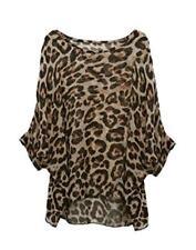 Plus Tunic Blouse Ladies Kimono Loose Waterfall Chiffon Kaftan Leopard Poncho