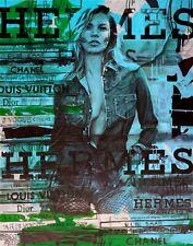 Motiv Kate Moss Hermes Baby Blue PopArt/Malerei/StreetArt/Leinwand/Kunstdruck