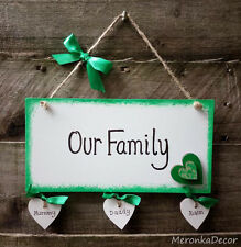 Family Plaque Personalised Wooden White hanging Hearts Gift-up to 6hearts-Green