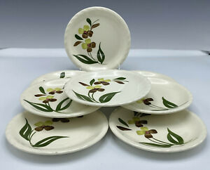 "8 Blue Ridge Southern Pottery Sunny Spray Bread Plates 61/4"" Green Cream Floral"