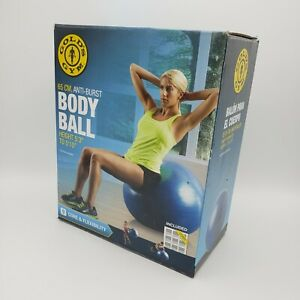 Golds Gym Fitness Body Ball 65cm W/Air Pump & Exercise Chart Up To 250 lbs. NEW