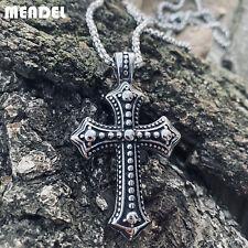 MENDEL Mens Biker Catholic Cross Pendant Necklace For Men Ashes Stainless Steel