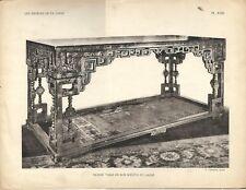 Stampa antica GRANDE TAVOLO CINESE LACCATO CINA CHINA 1922 Antique print T.23